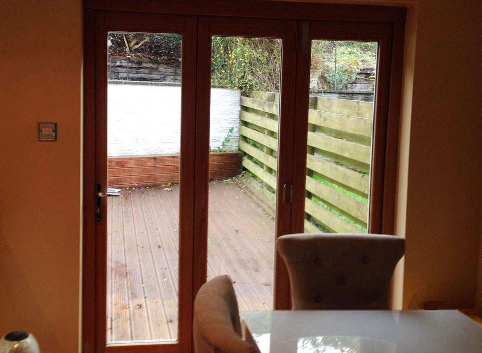 Inside, closed 1.8M Ultra white extrenal bifold doors