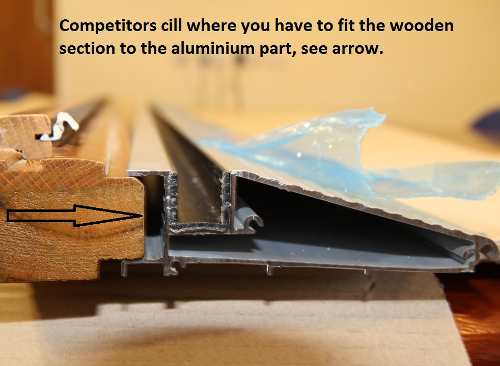 Competitor's cill wooden and aluminium sections