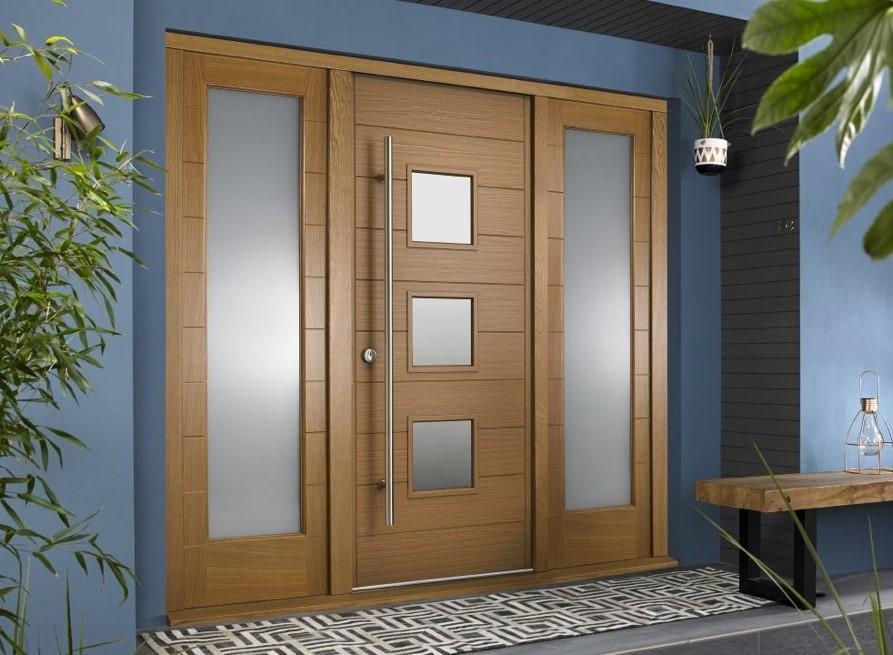 wooden front door with windows